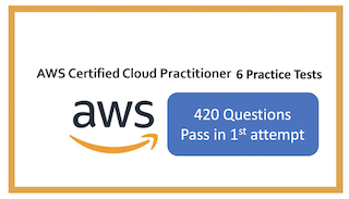 AWS Certified Cloud Practitioner: 6 Full Practice tests