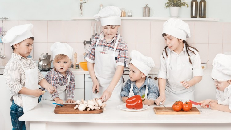 Happy Vegetarian Kids Cooking Healthy