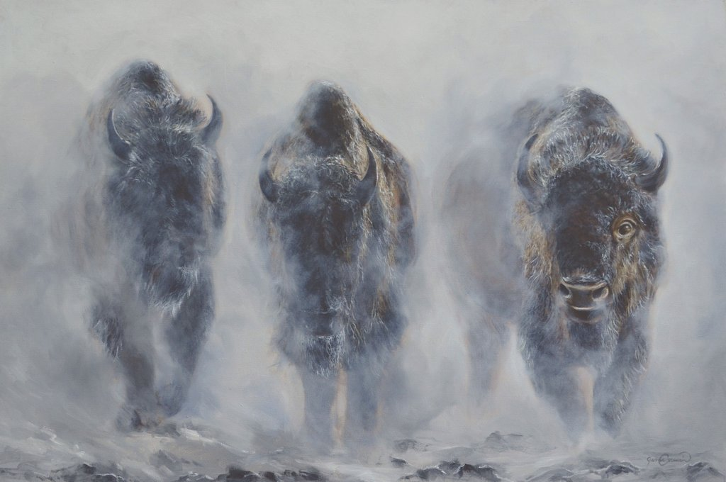 Learn to Paint Bison in Mist Step-by-Step