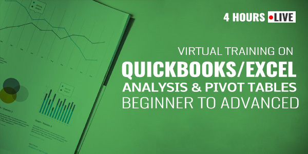 4 Hour Live Virtual Training on QuickBooks/Excel Analysis and Pivot Tables: Beginner to Advanced