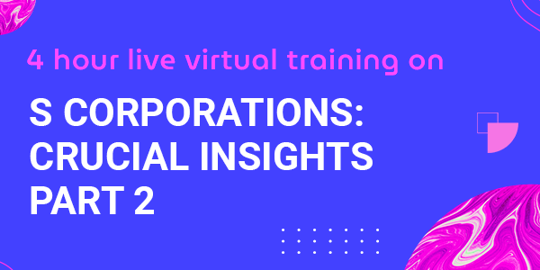4 Hour Live Virtual Training on S Corporations: Crucial Insights Part 2